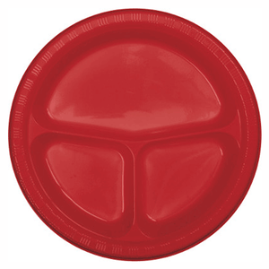 "Red Divided Plastic Plate 10"" - 20 Pack"
