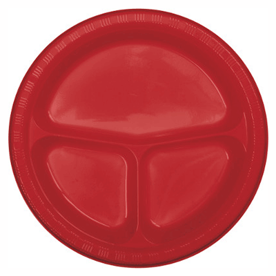 Red Divided Plastic Plate 10