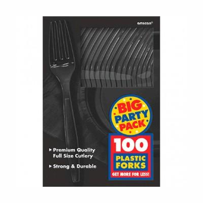 Jet Black Big Party Pack Plastic Forks - 100 Pack
