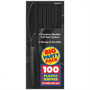 Jet Black Big Party Pack Plastic Knives - 100 Pack