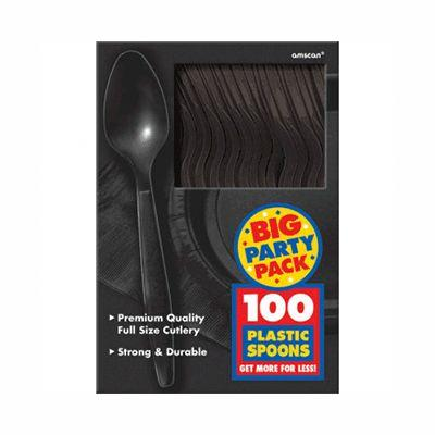 Jet Black Big Party Pack Plastic Spoons - 100 Pack