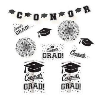 Graduation White Decoration Kit - 10 Pack