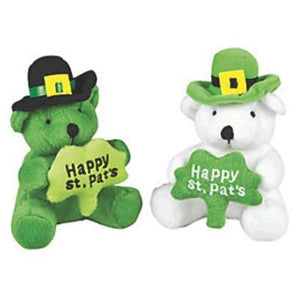 St. Patrick's Day Plush Bear With Shamrock Assorted 4""