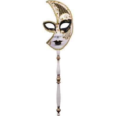 Gold Venetian Masquerade Half Mask With Handle