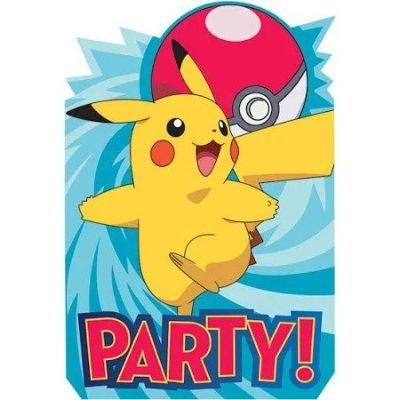 Pokemon Party Invitations - 8 Pack