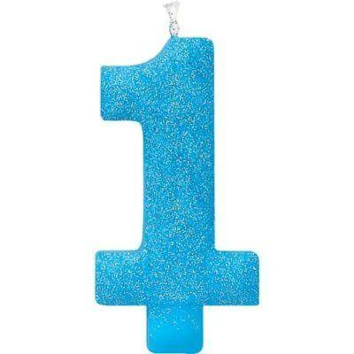 Blue 1 Glitter Birthday Candle
