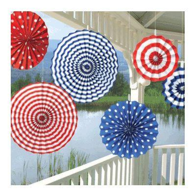 Patriotic Paper Fan Decoration Kit - 6 Pack