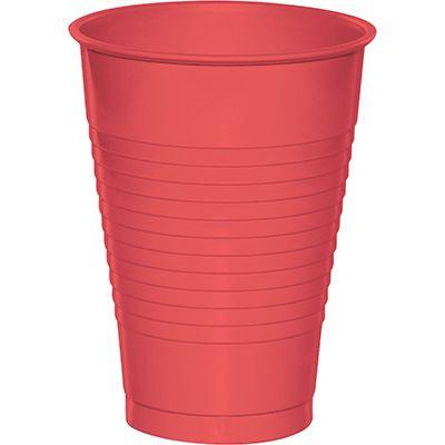 Coral Pink Plastic Cup 12 oz. - 20 Pack