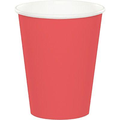 Coral Pink Paper Cup 9 oz. - 24 Pack
