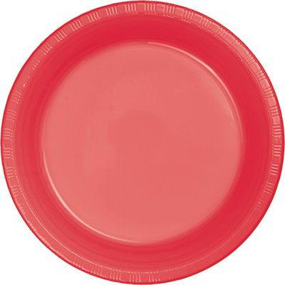 Coral Pink Plastic Dessert Plate 7