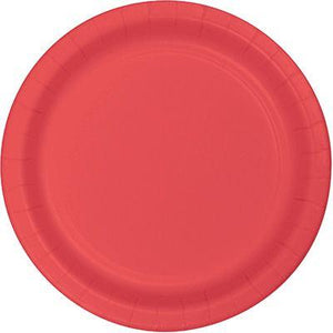 "Coral Pink Paper Dinner Plate 9"" - 24 Pack"