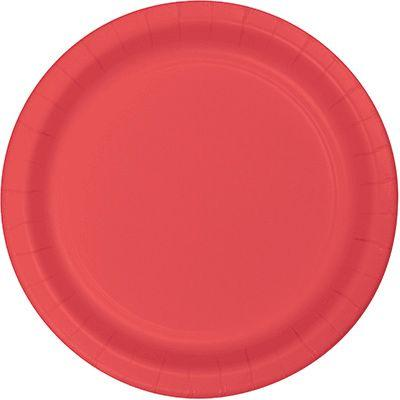 Coral Pink Paper Dessert Plate 7