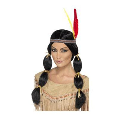 Indian Maiden Black With Headband Wig
