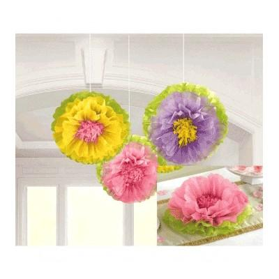 Fluffy Flower Tissue Paper Decorations - 3 Pack