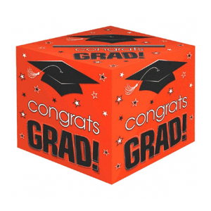 Congrats Grad Orange Card Box 12""