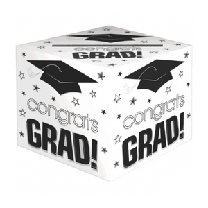 Congrats Grad White Card Box 12""