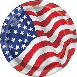 "USA Flag Paper Dinner Plate 9"" - 8 Pack"
