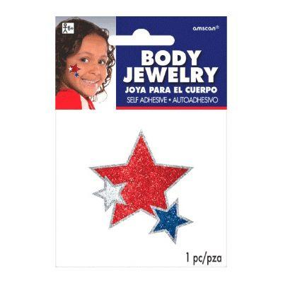 Red White & Blue Stars Body Jewelry