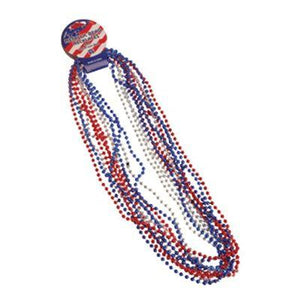 Red White Blue Metallic Bead Necklaces - 12 Pack