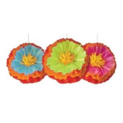 Fiesta Flower Pom Pom Decoration - 3 Pack