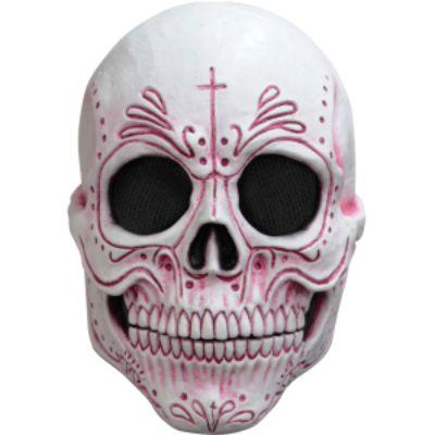 Day of the Dead Red & White Skull Mask