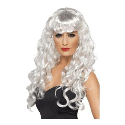 Siren White Curly With Bangs Wig
