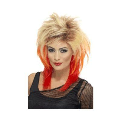 80's Blonde Mullet With Red Wig