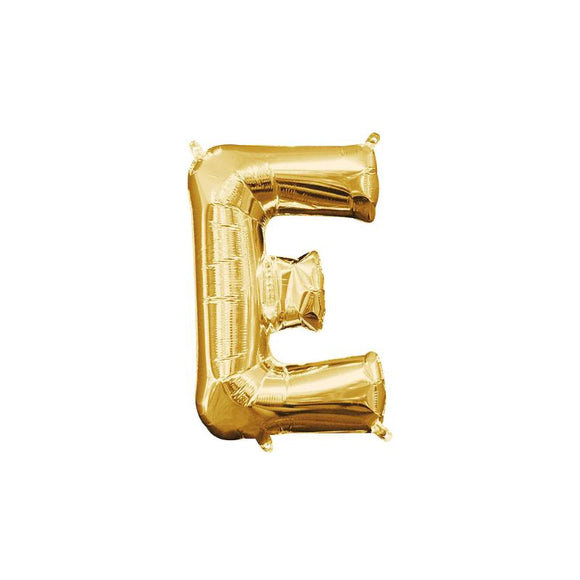 Gold Letter E Mylar Balloon 16