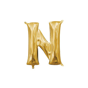 "Gold Letter N Mylar Balloon 16"" (Air Filled)"
