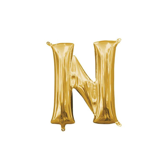 Gold Letter N Mylar Balloon 16