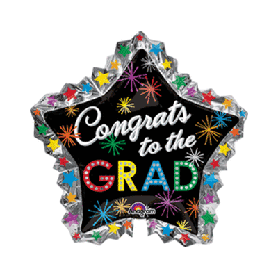 Congrats To The Grad Burst Star Mylar Balloon 34