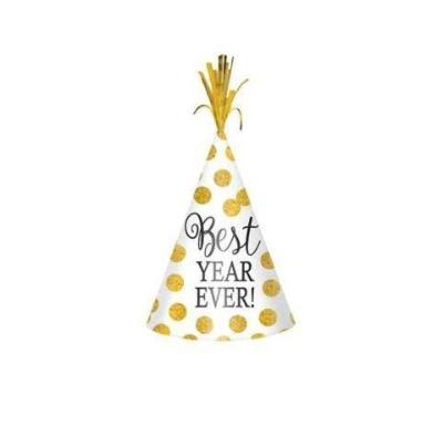 Best Year Ever! New Year's Party Hat - Gold Polka Dot
