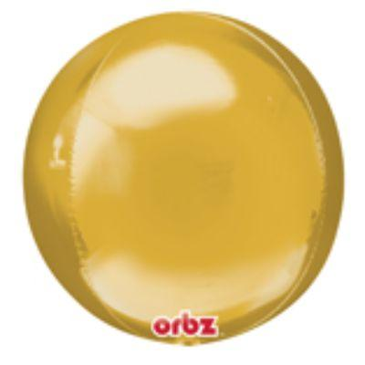 Gold Orbz Mylar Balloon 16