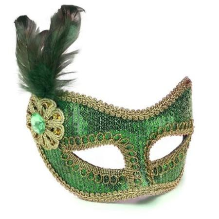 Mask Green & Gold With Feather