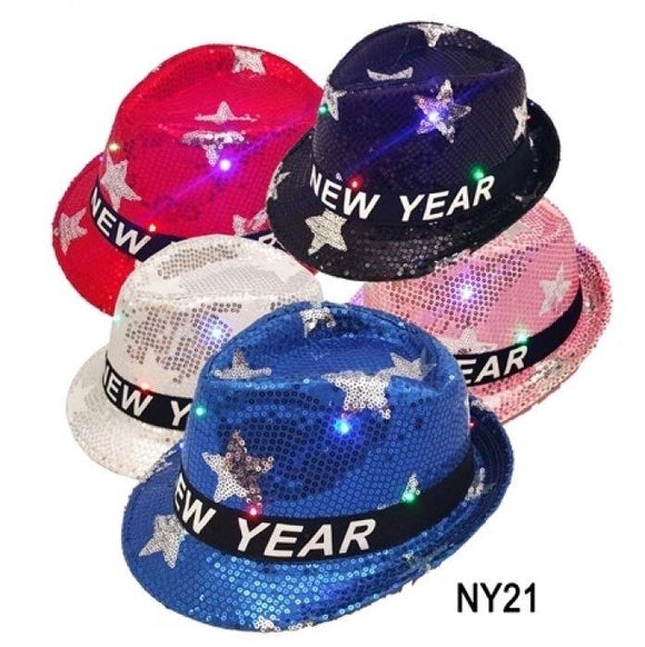 New Year's Light Up Fedora Party Hat - Assorted Colors