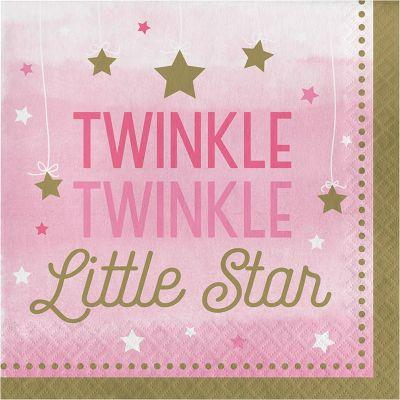 Pink Twinkle Lunch Napkins - 16 Pack