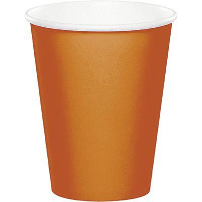 Pumpkin Spice Orange Paper Cup 9 oz. - 24 Pack