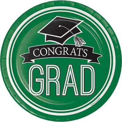Green Congrats Grad Dinner Plate - 18 Pack