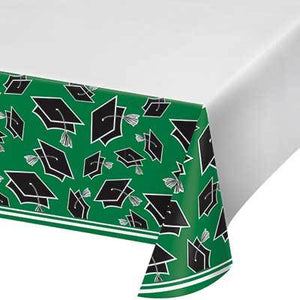 "Green Congrats Grad Tablecover 54"" x 102"""