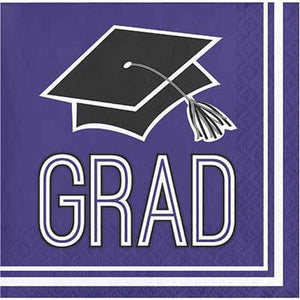 Purple Congrats Grad Beverage Napkin - 36 Pack