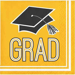 Yellow Congrats Grad Beverage Napkin - 36 Pack