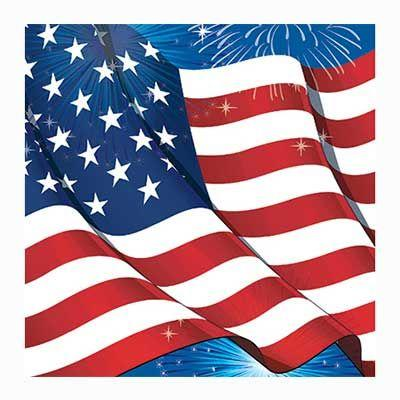Fireworks & Flag Luncheon Napkin - 16 Pack