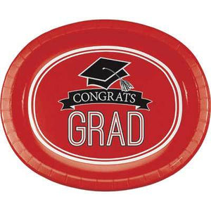 Red Congrats Grad Oval Platter - 8 Pack