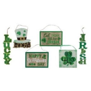 St. Patrick's Day Glitter Wall Plaque Assorted
