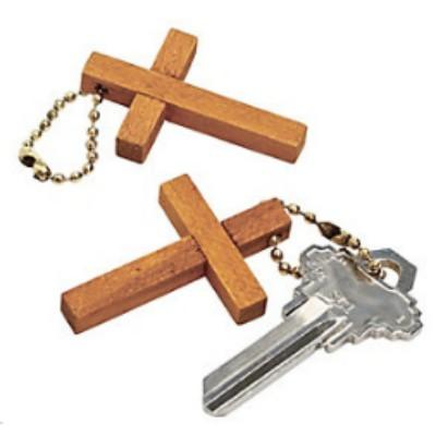 Wooden Cross Key Chain 1.75 - 12 Pack