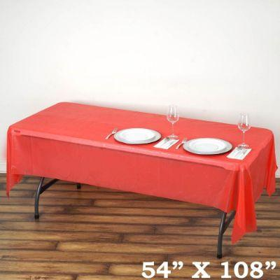 Red Heavyweight Plastic Tablecover 54