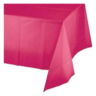 Bright Pink Plastic Heavyweight Tablecover 54