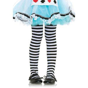 Striped White & Black Child Tights