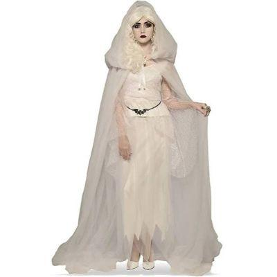 White Hooded Tulle Cape Adult