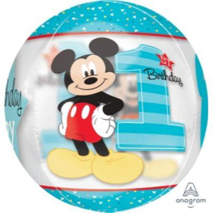 Mickey 1st Birthday Orbz Mylar Balloon 16""